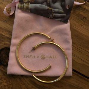 Sheila Fajl Gold Brushed Hoops